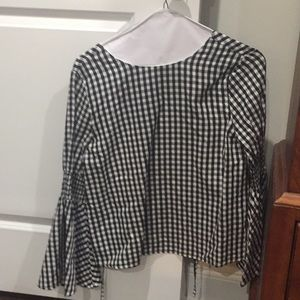 English Factory Black & White Gingham Top Size M